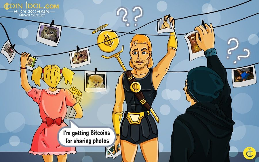 Getting Bitcoins for sharing photos