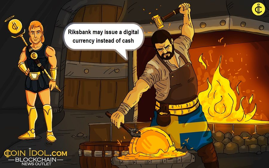 Riksbank of Sweden considers the possibility of issuing a digital currency instead of cash.