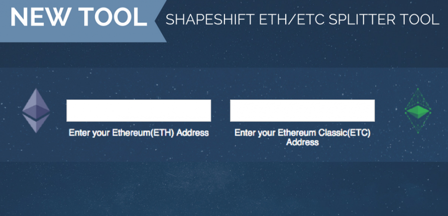 ShapeShift Splitter Tool for ETH and ETC