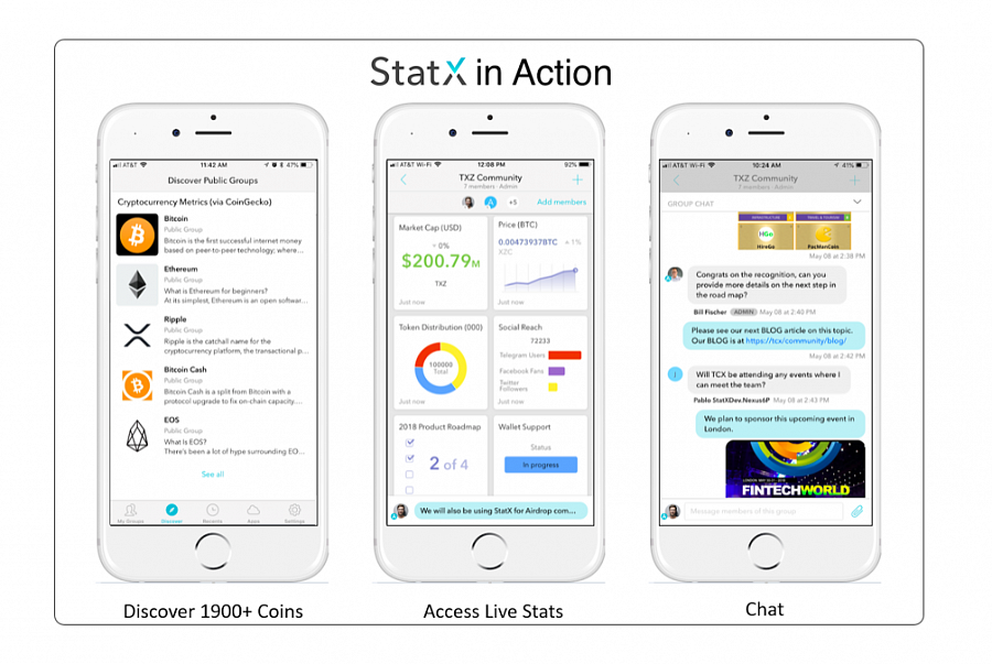 Leading cryptocurrencies Decred, Zcoin and others choose StatX to share information and messaging.