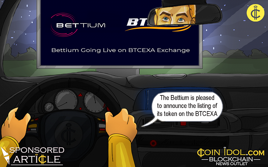 The Bettium big data / sports betting blockchain platform is pleased to announce the initial listing of its utility token (BETT) on the BTCEXA exchange in pair with ETH, opening at the ETH equivalent of USD 0.05.