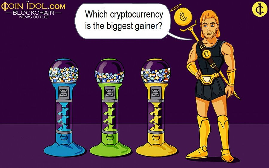 Which cryptocurrency is the biggest gainer?
