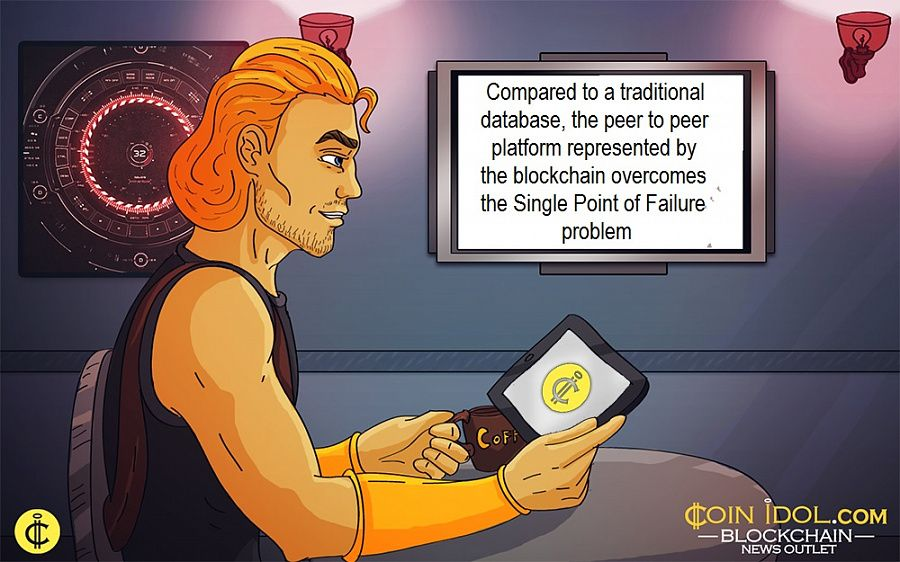 Compared to a traditional database, the peer to peer platform represented by the blockchain overcomes the Single Point of Failure problem