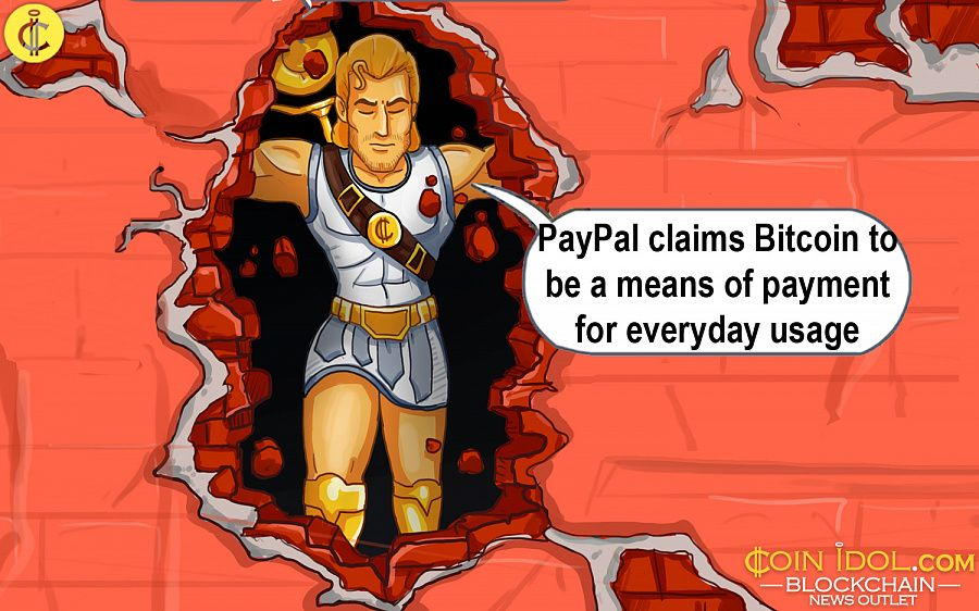 PayPal claims bitcoin to be a means of payment