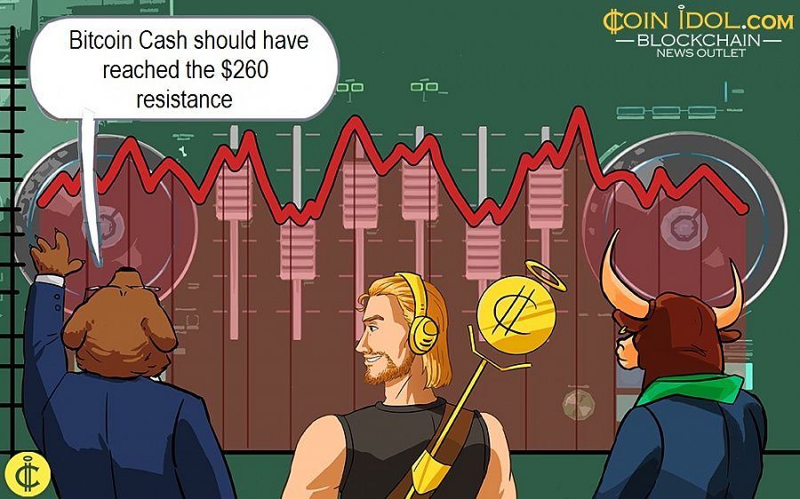 Bitcoin Cash should have reached the $260 resistance