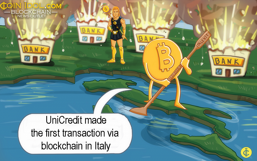 In Italy, UniCredit has finally made the first commercial transaction via the blockchain using the We.Trade platform.