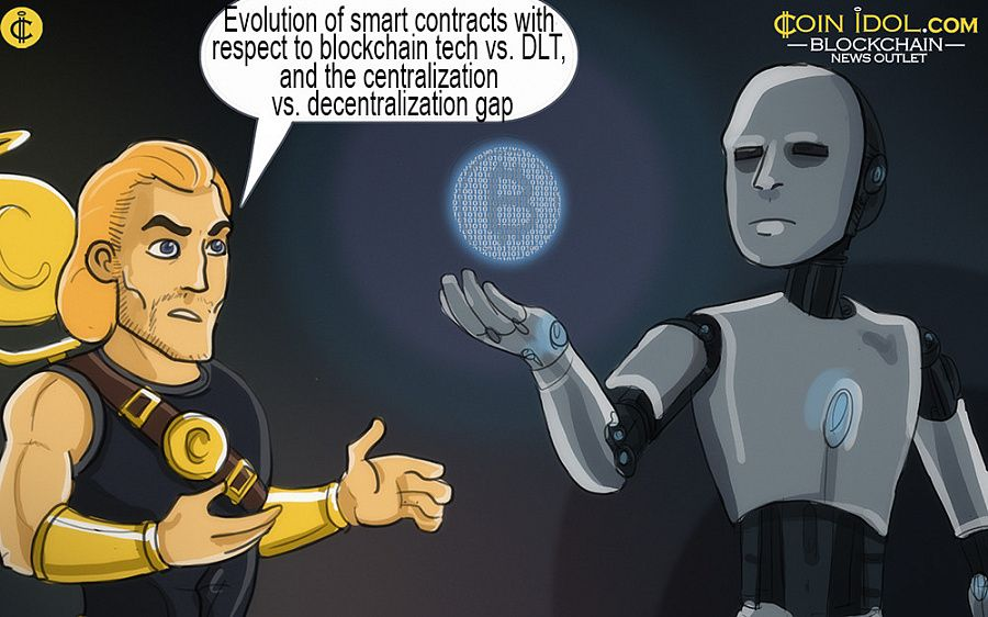 Evolution of smart contracts with respect to blockchain technology versus Distributed Ledger Technology, security issues, alternative uses, and the centralization versus decentralization gap.