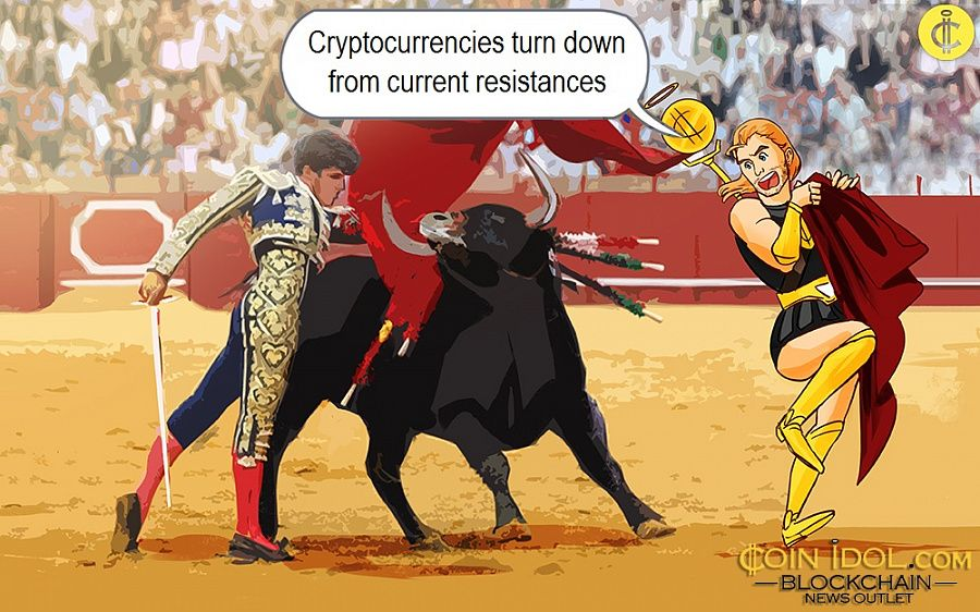 Cryptocurrencies turn down from current resistances