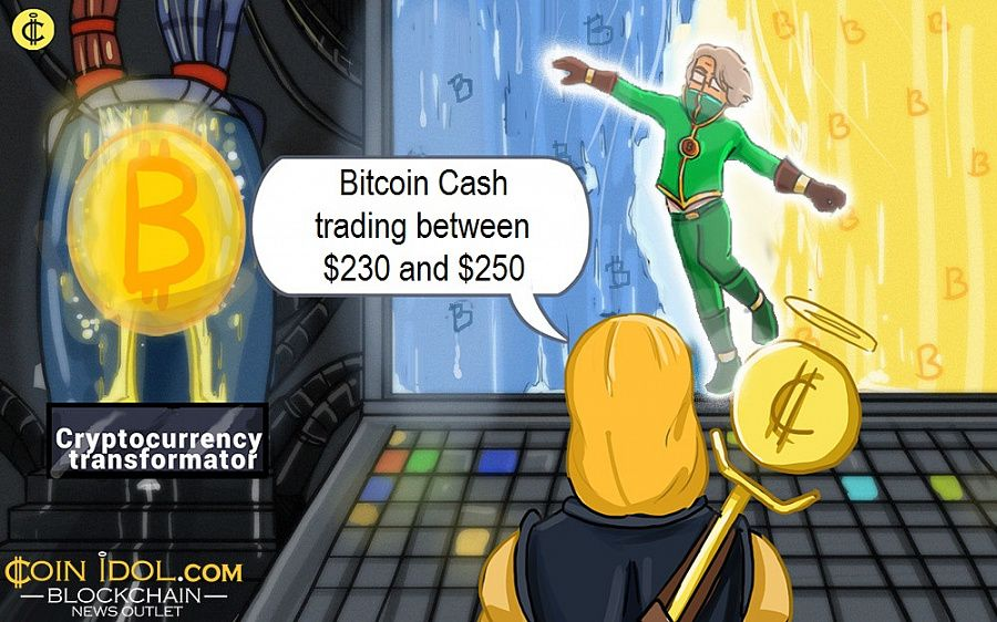Bitcoin Cash trading between $230 and $250