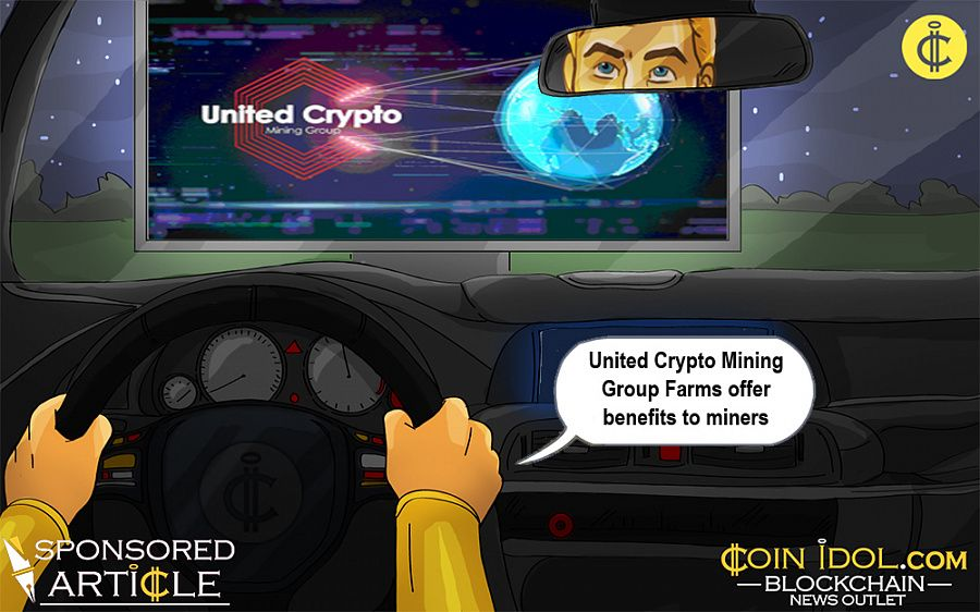 Cryptocurrency generating in United Crypto Mining Group farms